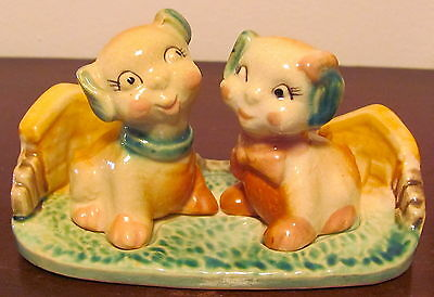 Vintage Dog Salt & Pepper Shakers With Tray Very Sweet Dogs Hand Painted