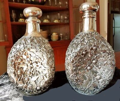 2 Antq Chinese Export Sterling Silver Overlay Pinch Decanters Yu Chang Tientsin