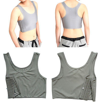 Grey Casual Breathable Buckle Short Chest Breast Binder Trans Lesbian Tomboy M