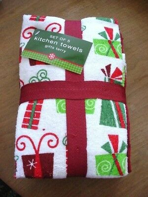 "BB&B  5 HOLIDAY KITCHEN TOWELS 'WRAPPED'  16"" x 26"" NEW"