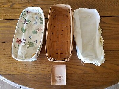 Longaberger Low Cracker Bread Basket w/ Muslin and Floral Cloth Liners 1987