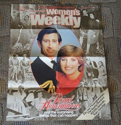 Colour Poster Royal Honeymoons Charles & Diana Aust Womens Weekly 12/8/1981 #17