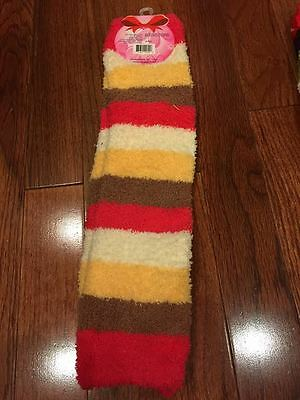 "Uni Hosiery Plush Striped Leg Warmers, 14"", Yellow, Pink, White, Tan New"