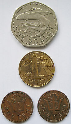 Barbados Coins – Mixed Lot – One Dollar, Five Cents and Two x One Cent