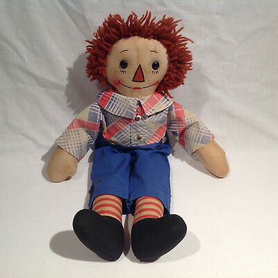 "Georgene Raggedy Andy Doll w/ black outline nose, 18"" tall, cloth side tag"
