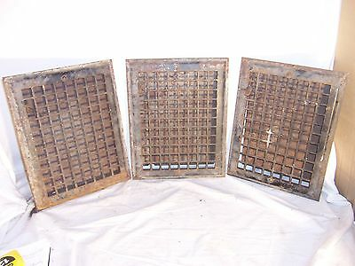 antique 3 heat grate vent register cold 14x11 RO 12x9 wall grill cast steel