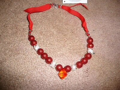 NEW NWT Gymboree girls red sparkly beaded holiday necklace