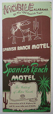 Vintage Travel Brochure Spanish Ranch Motel Mobile Alabama Old Spanish Trail
