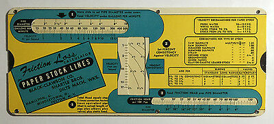 Vintage Slide Chart, Friction Loss Calc. for Paper Stock Lines, Perry Graf 1944