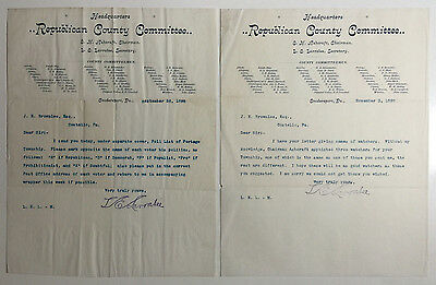 VTG Letterheads, Headquarters, Republican County Committee, Coudersport PA 1898