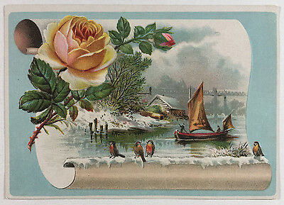 Embossed Victorian Card with Water Boat Birds and Rose Flowers