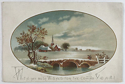 Victorian New Year Greeting Card with Church Winter Snow Scene