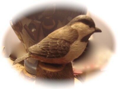 Chickadee Wood Carved Bird - Signed By Barrichivich