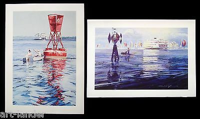 8 Fishing Boat WA State Ferry Spinnakers Art Blank Note Cards Marshall Johnson