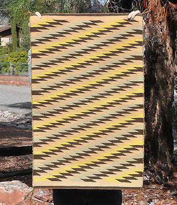 Vintage Navajo Indian Rug - Tightly Woven Diagonal Stripe Pattern - Earth Colors
