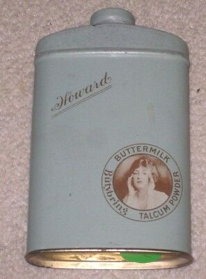 Vintage HOWARD  Buttermilk Litho Talcum Talc Powder Tin Can Container