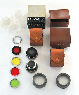 Vintage Lot of Polaroid lenses, filters,cases Telephoto Wide Angle Close up #550