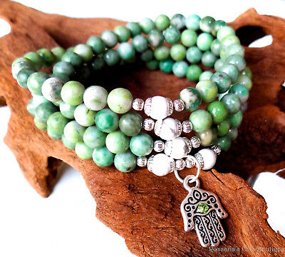 108 mala rosary jade necklace w/ howlite and silver accent hamsa evil eye