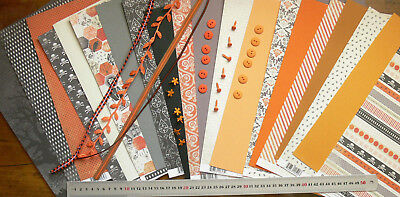HALLOWEEN Scrapbook Pack 6x12 14 Sheets 24 Buttons&Brads 4Ribbons HAPPY HAUNTING