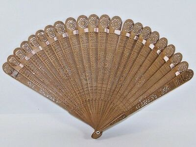 Museum Quality Rare 19Th Century Chinese Canton Carved Wood Fan
