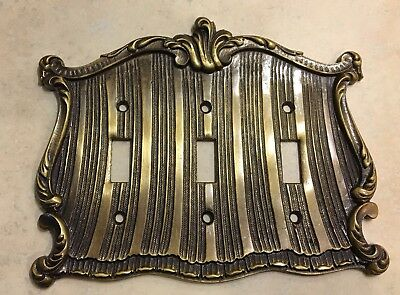 Ornate Brass Triple Toggle Light Switch Cover Plate Spain
