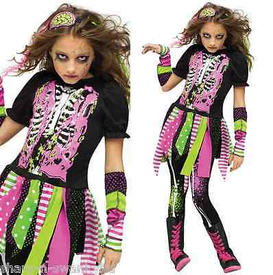 Child's Girls 4 Piece Neon Zombie Halloween Fancy Dress Costume Outfit 4-10 yrs