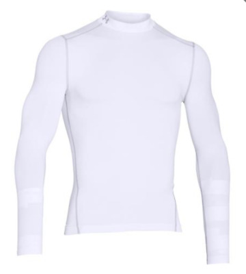 New Under Armour Golf ColdGear Fitted Golf Mock White Large - 1259431 RRP £45