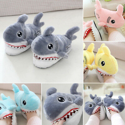 Unisex Winter Furry Home Slipper Indoor Warm Soft Bottom Shark Womens Shoes Size