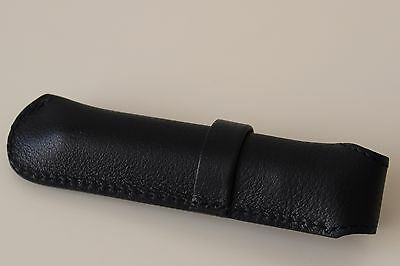 Leather pen case in black by de LAFORET