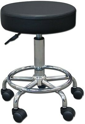 14' Round Seat Rolling Hydraulic Steel Pneumatic Stool on Wheels - Black