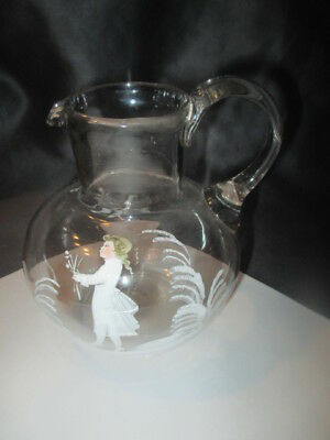 Art Glass Small Pitcher Jug After Mary Gregory Victorian Boy With Flowers