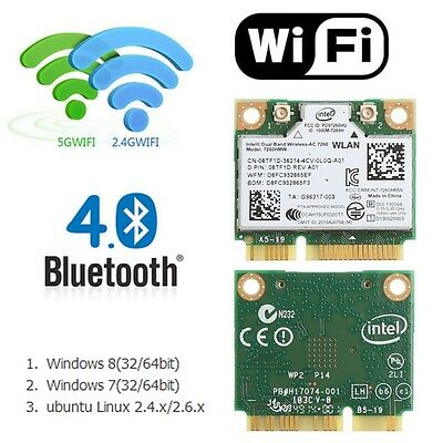 Bluetooth 4.0 Dual Band Wireless Mini PCI-E Card For Intel 7260 AC DELL 7260HMW