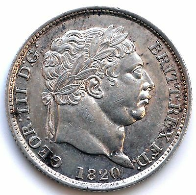 "George III 1820 Shilling ""H"" over in ""HONI""   (SN)"