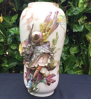 Doulton Majolica Large RARE c1880 Hand Painted Shell Beach Vase Signed By Artist