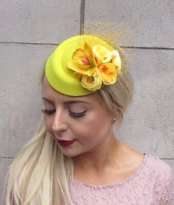 Yellow Rose Flower Pillbox Hat Fascinator Hair Clip Races Wedding Vintage 4102
