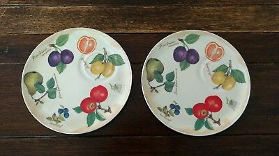 2 Breakfast Plates by Roy Kirkham Fine Bone China, Parchment Fruit, England 2000