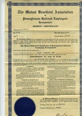 Pennsylvania Railroad Employees $1500 Benefit Certificate 1930