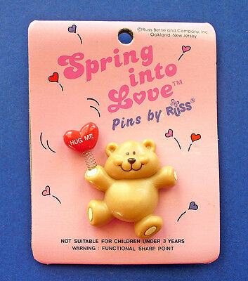BUY1&GET1@50%~Russ PIN Valentines MOC BEAR TEDDY HUG ME Heart BALLOON Vtg Brooch