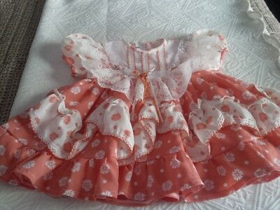 Adorable Vintage Baby Dress Rosette Lace Poppy Polkadot Print Coral Small GUC