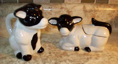 Ceramic Cow Sugar Bowl And Creamer.