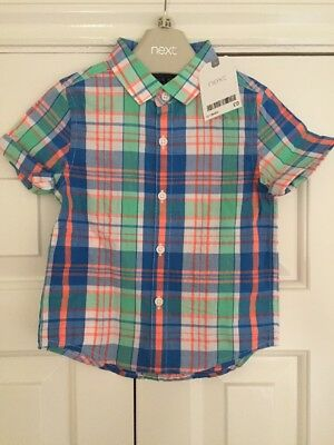 BNWT Next Boys Shirt Age 12-18 Months Short Sleeve Checked Party Holiday Casual