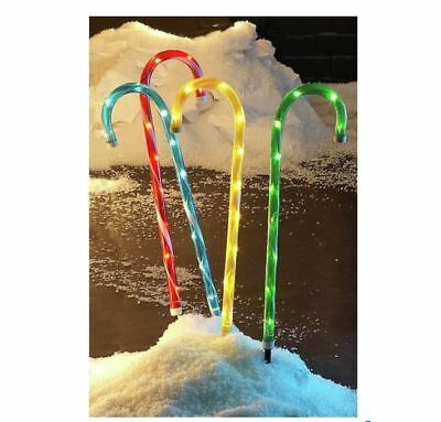 Set of 4 Path Finders Candy Cane Outdoor Lights H62 cm