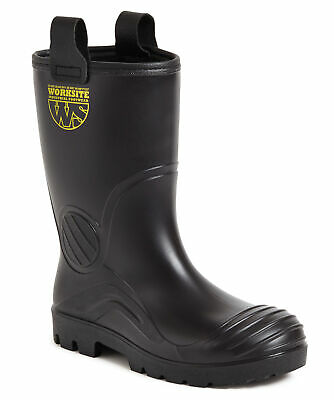 Worksite SS630SM black PVC S5 fur-lined safety rigger boot with midsole sz 5-14