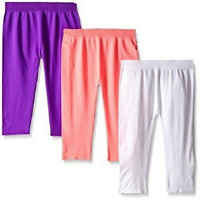 Lot of 3 - Girl's Capri Leggings -Seamless, Pink Purple White - 4T - 6X Stretch