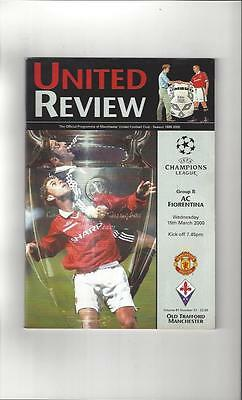 Manchester United v Fiorentina Champions League Football Programme 1999/00