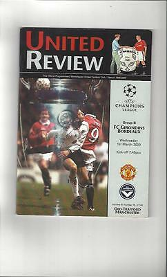 Manchester United v Bordeaux Champions League Football Programme 1999/00