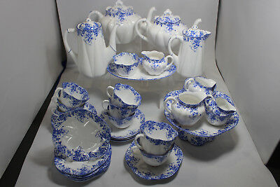 Shelley Dainty Blue Complete Tea Set with Tea, Coffee, Water Pots, Cake Stand