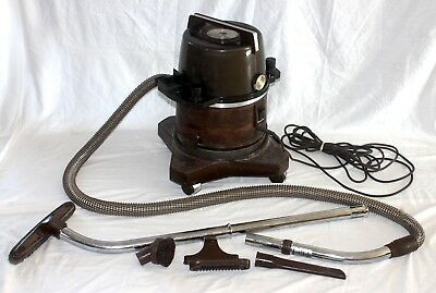 Vintage Brown RAINBOW CANISTER VACUUM CLEANER w Accessories Tested & Works Great