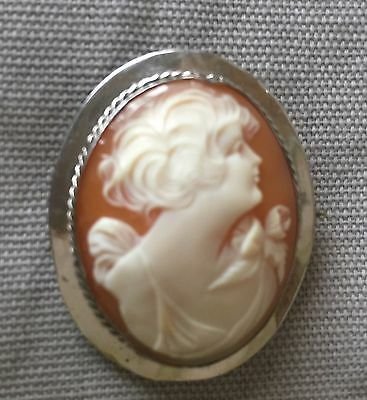 Vintage Shell Cameo Pin/Pendant White Gold-Filled Frame