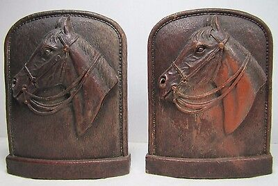 Vintage Horse Head Bookends high relief Syroco detailed western book ends